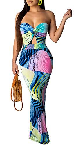 LightlyKiss Womens Sexy Floral Cover-up Dresses Strapleess Bohemian Long Maxi Beach Tube Sundress
