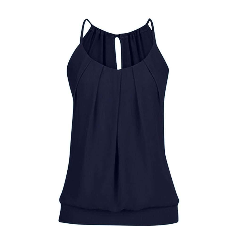 LLguz Women Summer Loose Wrinkled O-neck Camisole Tank Tops Vest Blouse Loose Comfortable Top (Navy 2, S)