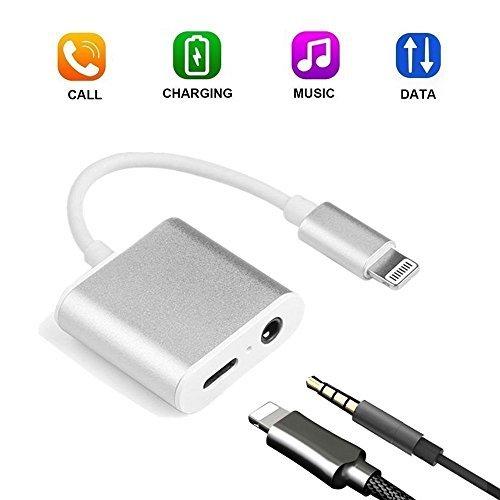 iPhone 7 Aux Adapter, Sukey Lightning to 3.5mm Headphone Jack Audio Adapter 3 in 1 Aluminum Lightning Adapter Lightning Headphone Audio and Charger Adapter for iPhone 7 /7Plus /8 /8Plus /X …