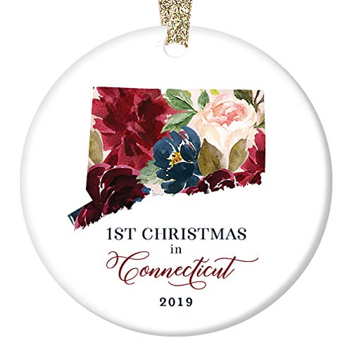 "2019 Christmas Ornament Ceramic Collectible First 1st Holiday Season in CONNECTICUT U. S. A. Friend Relative Present Pretty Floral Design 3"" Flat Porcelain Keepsake with Gold Ribbon & Free Gift Box"
