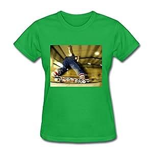 Cotton Lightweight Sk8 Women Customizable Medium T-shirt Green
