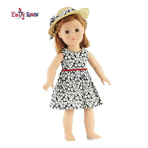 Emily Rose 18 Inch Doll Clothes/Clothing Fits American Girl - Black Floral Easter Dress Outfit Includes 18 Dolls Accessories