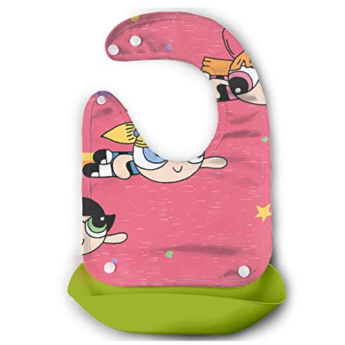 Baby Bib Flying Powerpuff Girls Waterproof Feeding Bibs for Babies and Toddlers with Comfort-Fit Fabric Neck Green]()