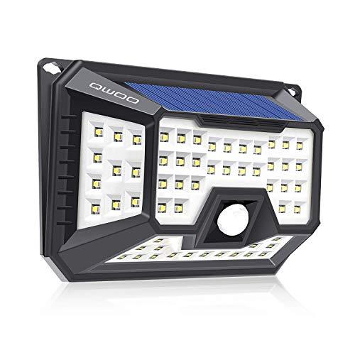 QWOO Solar Lights Outdoor 66 LED Waterproof Motion Sensor Lights Wireless Security Wall Lights Solar Motion Powered Night Lights for Front Door,Backyard, Garage,Porch,Deck, Driveway