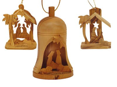 - Holy Land Imports Bethlehem Olive Wood Christmas Ornament Set