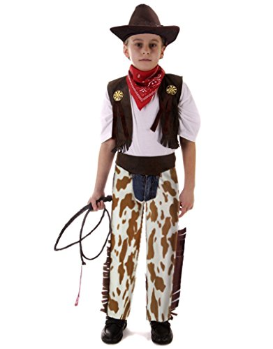 yolsun Cowboy Costume, Role Play for Kid, Pretend Play Dress (6-9Y) Brown