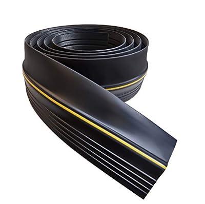 Universal Garage Door Threshold Seal DIY Weather Stripping 20 Feet Length (20 FT, Black)