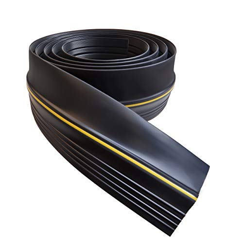Universal Garage Door Threshold Seal DIY Weather Stripping 20 Feet Length (20ft, Black) Black Garage Door Threshold Seal