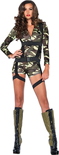 Leg Avenue Women's 2 Piece Goin' Commando  Military Costume, Camo, -