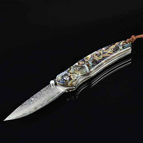 Damascus Pocket Knife, 2.5'' Handmade Forged Damascus Steel Blade EDC Folding Hunter Pocket Knife with Liner Lock and Thumb Stud