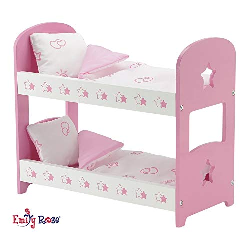 Emily Rose 14 Inch Doll Furniture   Lovely Pink and White Star Themed Doll Bunk Bed, Includes Plush Reversible Bedding   Fits 14 American Girl Wellie Wishers Dolls