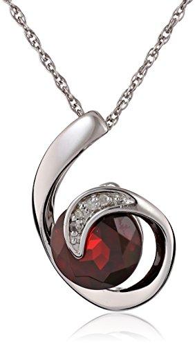 Scroll Garnet Diamond Pendant Necklace