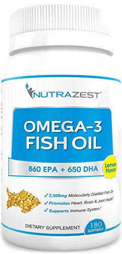 Premium Omega 3 Fish Oil   2 500Mg Lemon Flavored  Cold Pressed  Triple Strength Fish Oil Capsules   860Mg Epa   650Mg Dha For Heart  Joints  Brain  Vision   Immunity Benefits   180 Softgels