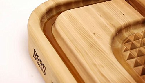 John Boos Carving Collection Pyramid Design Reversible Maple Cutting Board with Juice Groove and Pan, 24'' x 18'' x 2.25 Inches by John Boos (Image #3)