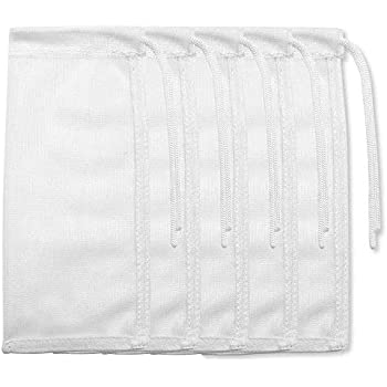 5 Pack Small Aquarium Mesh Media Filter Bags, 3 by 8 inches High Flow Mesh Bag with Drawstrings for Activated Carbon Reusable Fish Tank Charcoal Filter Bag for Fresh or Saltwater Tanks,White
