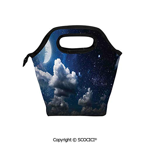 Insulation portable lunch box bag Celestial Solar Night Scene Stars Moon and Clouds Heaven Place in Cosmos Theme Soft Fabric lunch bag Mummy bag. -