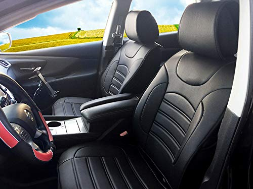 Durable Leather Like Vinyl Seat Cushion Covers for GMC Sierra 2019 - Present (Black)