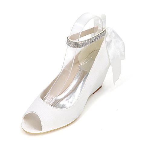 Satin Ankle Strap Wedge (Jiame Women Peep Toe Pumps Mid Heel Rhinestone Ankle Strap Wedges Satin Wedding Bridal Shoes (EU 41/9B(M) US, White))