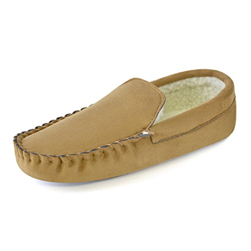 Mens Boys Gents Suede Moccasin Borg Microfibre Fur Lined Slippers Sandal Shoes Black Tan Brown Navy Size 7-12 Light Tan CqpeQ