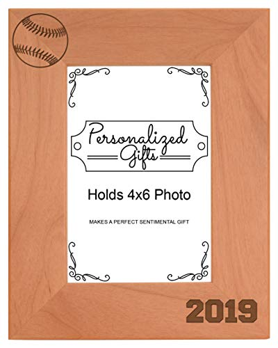 Personalized Gifts Baseball Frame 4x6 Baseball 2019 Photo Frame Baseball Gift Wood Engraved 4x6 Portrait Picture Frame