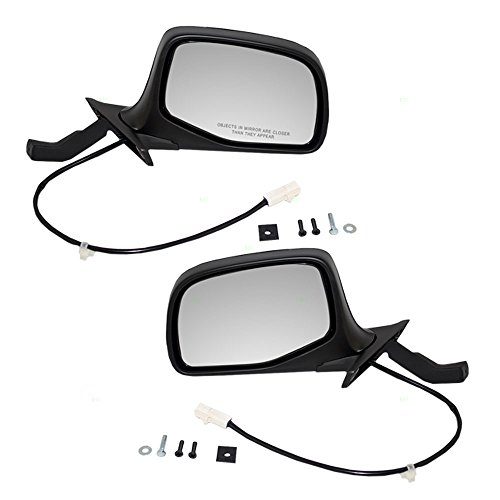 Driver and Passenger Power Side View Mirrors Paddle Type Ready-to-Paint Replacement for (Bronco New Black Power Mirror)