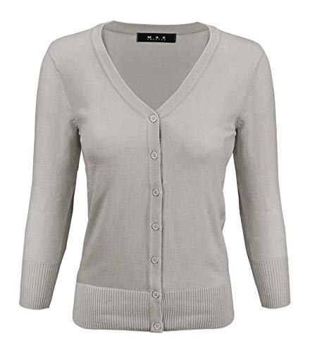 YEMAK Women's 3/4 Sleeve V-Neck Button Down Knit Cardigan Sweater CO078-Gray-1X ()