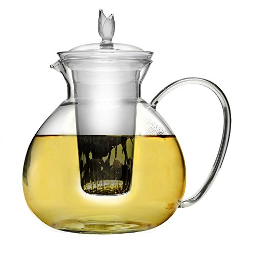 Primula Glass Top (Primula Asha Glass Teapot, Includes Infuser and Lid with 2 Flowering Teas, 60-Ounce)