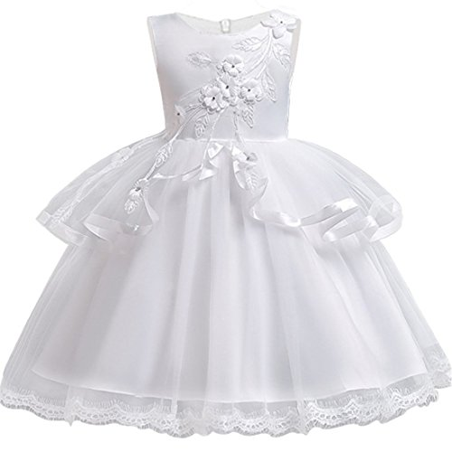 - White Dress for Girls 3T Vintage Lace Tutu Tulle Dress for Wedding Party Easter Pageant Size 3-4 Years Old Kids Sleeveless Ball Gowns Ruffle Spring Summer Fall Special Occasion Knee (White 110)