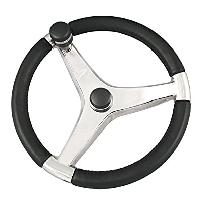 "Schmitt & Ongaro Marine Ongaro Evo Pro 316 Cast Stainless Steel Steering Wheel W/control Knob - 15.5"" Diameter"