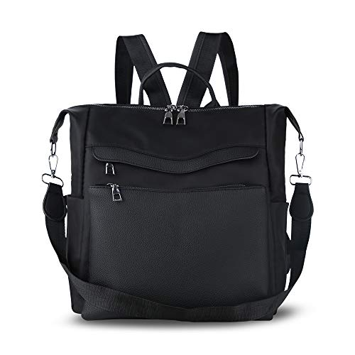 Women Backpack Purse Waterproof Nylon PU Leather Anti-theft Rucksack Lightweight Shoulder Bag Ladies Travel ()