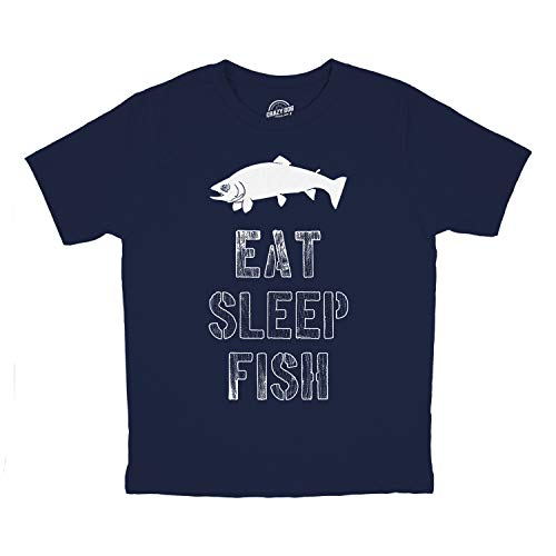 Crazy Dog T-Shirts Youth Eat Sleep Fish T Shirt Funny Fishing Tee for Kids (Blue) - L ()