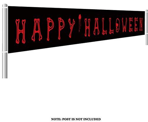 Colormoon Large Happy Halloween Banner, Halloween Party Decoration Supplies, Halloween Decor Outdoor Indoor, Funny Halloween Terror Banner(9.8 x 1.5 feet)]()