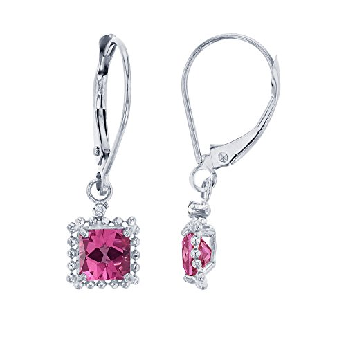 Earrings Pink Garnet & Topaz (10K White Gold 1.25mm Round Created White Sapphire & 5mm Square Pink Topaz Bead Frame Drop Leverback Earring)