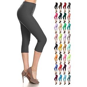 Leggings Depot Women's Popular Basic Capri Cropped Regular and Plus Solid High Waist Leggings (Plus (Size 12-24), Charcoal Gray)