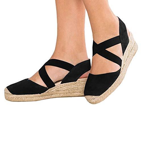 Womens Espadrille Platform Wedge Sandals Strappy Criss Cross Closed Toe Mid Heel Sandals