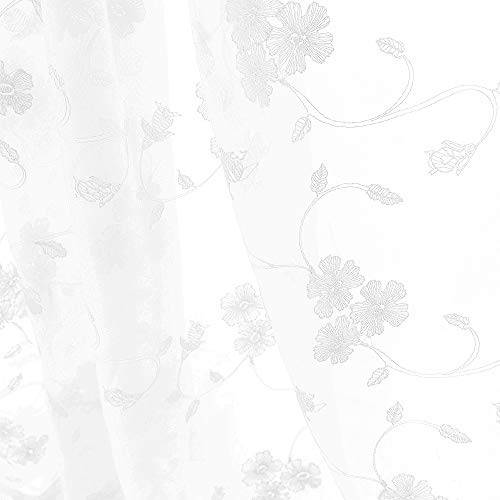 White Sheer Curtains for Living Room Floral Embroidery 63 inch Long Rustic Voile Window Curtains Bedroom Rod Pocket 2 Panels