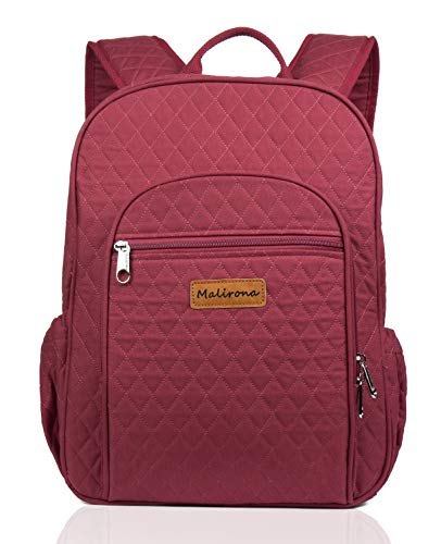 Malirona Canvas Campus Laptop Daypacks Backpack School Bags For Women And Men - Laptop Carrying, Trolley Sleeve, 7 Colors (Wine Red)