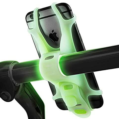 Mengo Lumi Bike Mount For iPhone, Samsung, LG, HTC, Fits Any Device With 4-6 Inch Screens (Glow In The Dark Bicycle Mount) - Specialized Electronics