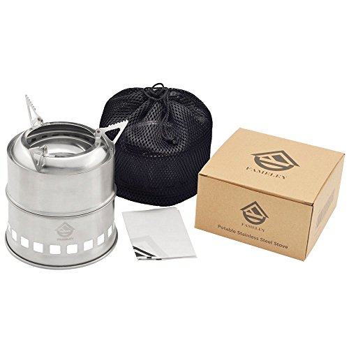 Heating Wood Burning Stove (FAMELEY Wood Camping Stove, Folding Lightweight Burning Utensil, Portable Stainless Steel with Nylon Carry Bag for Outdoor Cooking Picnic Backpacking)