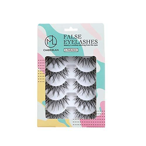 - Omberlan Fake Eyelashes Flexible Eyelash - Multipack False Lashes Handmade Natural Cross Strip Lashes with Volume for Make up, Soft and Reusable for Women Girls