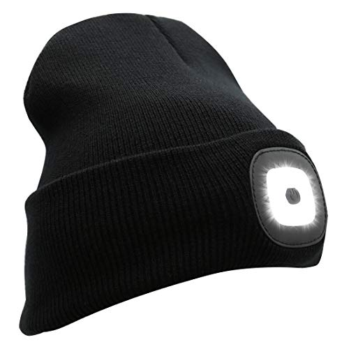 Rotus Extreme Bright Warm USB Rechargeable LED Knitted Headlamp Winter Beanie, Unisex LED Lighted Roll-up Brim Winter Hat with 8 Built-in Rechargeable LED Head Lights, Black