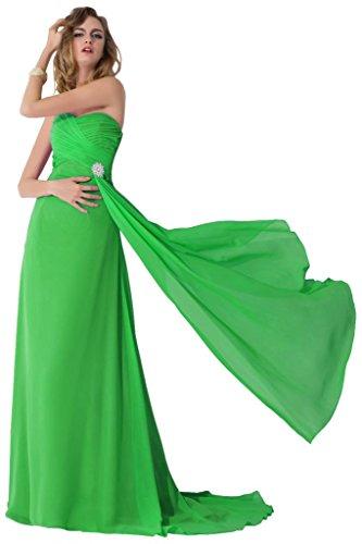 sunvary 2015gasa vestidos de tren de pista de Pageant Fiesta Noche Vestidos de verde manzana