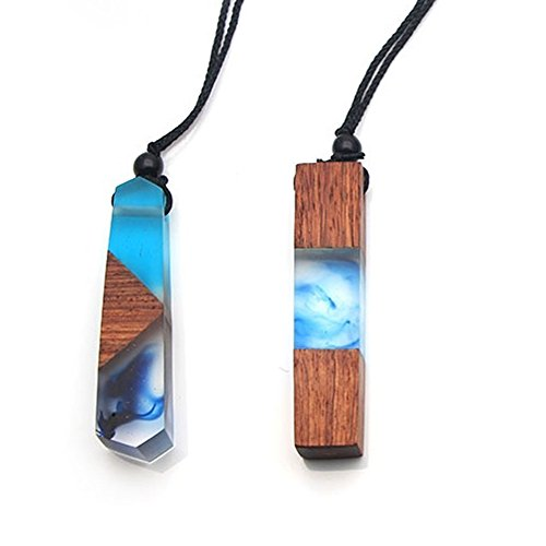 Sparklelife 2 PCS Women Men Necklace Handmade Vintage Resin Wood Statement Necklaces Long Rope Wooden Pendants Necklace Jewelry Birthday
