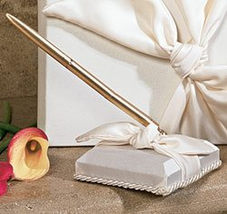 Knot Matte - RaeBella Weddings Bridal Ivory Matte Satin Love Knot Pen & Holder Set