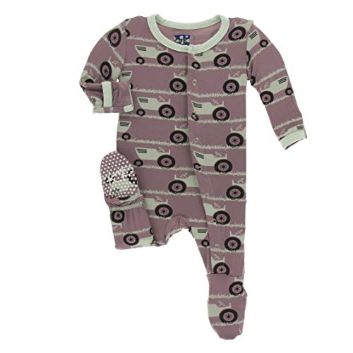 Kickee Pants Little Boys Print Footie with Snaps - Raisin Tractor and Grass, Newborn (Raisin Infant Girl)