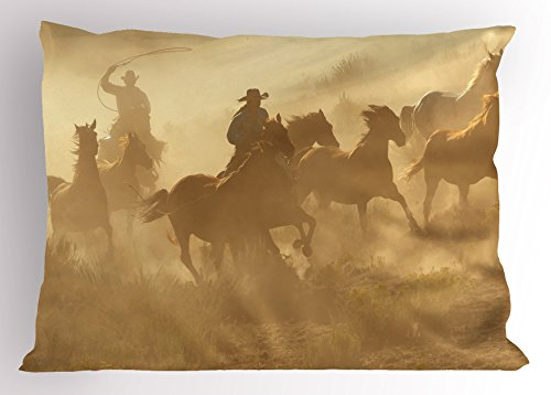 Lunarable Western Pillow Sham, Galloping Running Horses in Desert 2 Cowboys Roping Dusty Wild Rural Countryside, Decorative Standard King Size Printed Pillowcase, 36