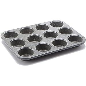 casaWare Ceramic Coated NonStick 12 Cup Muffin Pan (Granite)