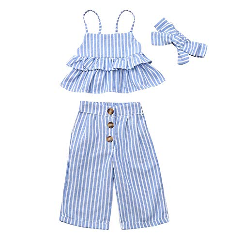 Baby Girl Stripe Ruffled Outfits Clothes,Children's Sleeveless Strap Striped Frill Tank Top + Pants + Hair Strap Set Blue]()