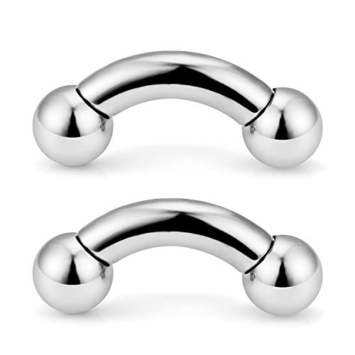 0g Body Jewelry - Ftovosyo 2PCS PA Ring Curved Barbell Internally Threaded Monster Screwball Rings 316L Surgical Steel Pierced Body Jewelry 0G 16mm