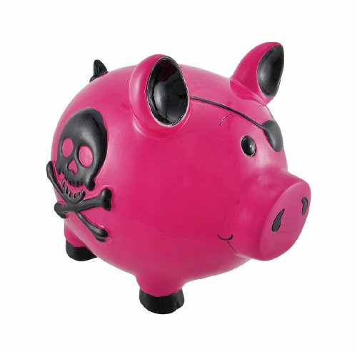 Hot Pink and Black Pirate Pig Skull and Crossbones Piggy Bank